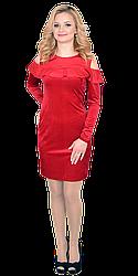Платье женское велюровое с рюшей