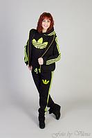 Стильный спортивный женский костюм тройка из трикотажа трехнитки теплый