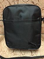 Чёрная сумка-планшетка Puma (Пума) с чёрным логотипом