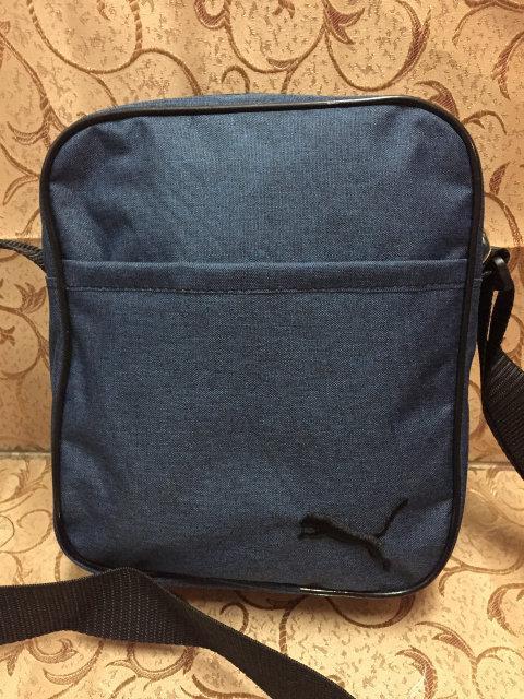 Синяя сумка-планшетка Puma (Пума) с чёрным логотипом