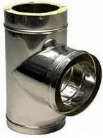 """Трійник 90"""" димохідний з нерж. сталі 1мм з теплоізоляцією в оцинкованому кожусі ф300/360"""