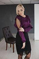 Женская лиловая красивенькая и элегантная блуза,ткань шелк армани (42-46 р) 22П10494_3
