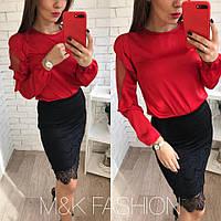 Женская красная красивенькая и элегантная блуза,ткань шелк армани (42-46 р) 22П10494_2