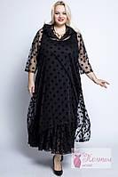 Женское нарядное турецкое платье -двойка, горох La Degrada 54-64 рр