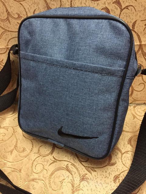 Синяя сумка-планшетка Nike (Найк) с чёрным логотипом
