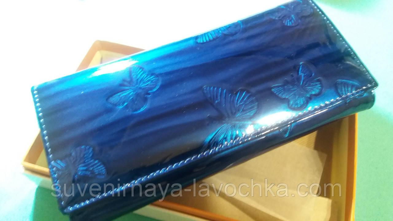 Женский кошелек из натуральной кожи ( Лак Синий ) Cossroll на магните  фирменный