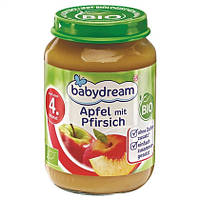 Babydream Пюре фруктовое: яблоко с персиком 190 г  с 4-го мес.