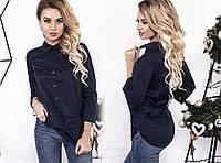 """Комбинированная женская блуза """"Эвон"""" с воротничком и длинным рукавом (5 цветов)"""