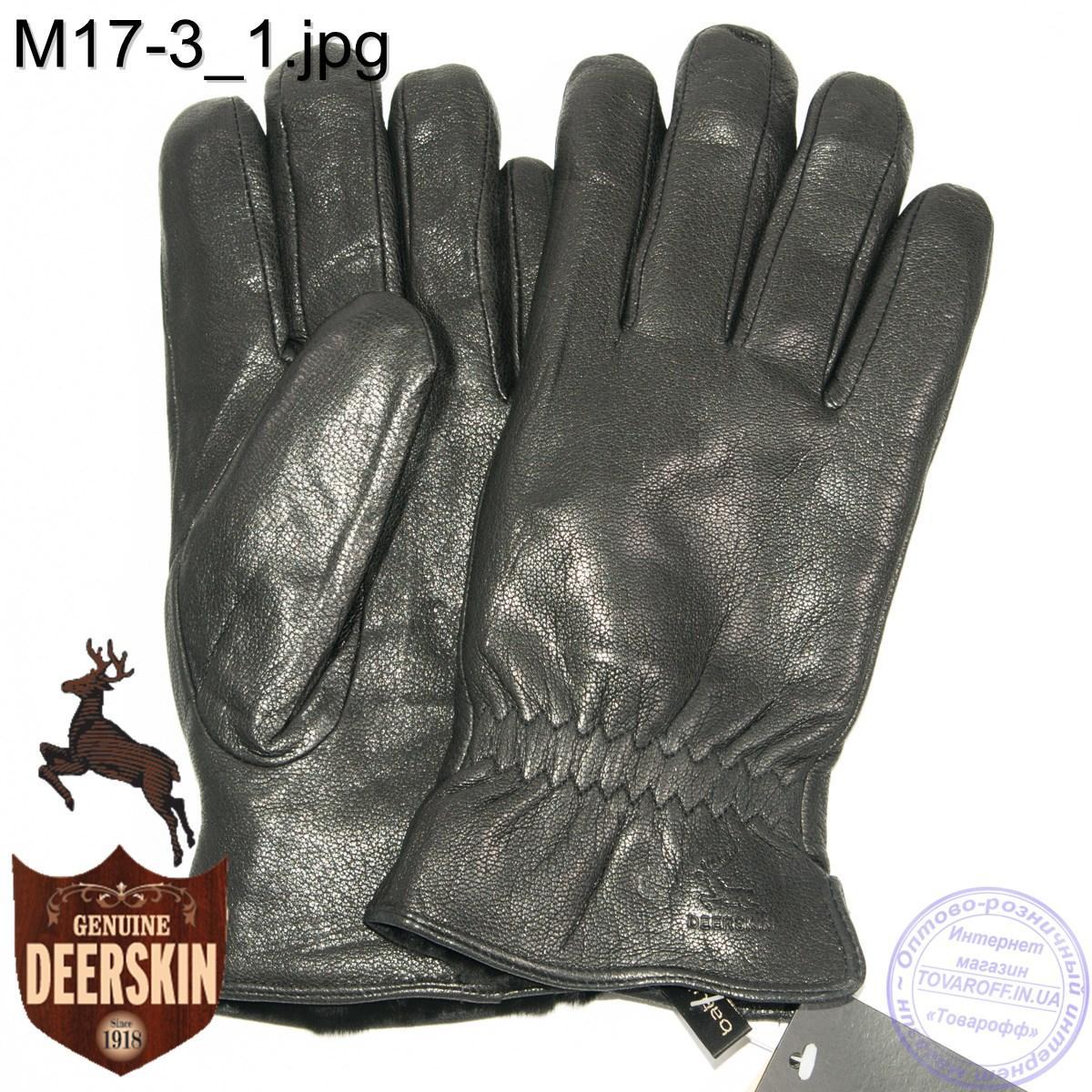Мужские зимние перчатки из оленьей кожи на цигейке (натуральный черный мех) - №M17-3