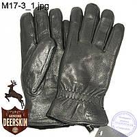 Мужские зимние перчатки из оленьей кожи на цигейке (натуральный черный мех) - №M17-3, фото 1