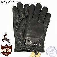 Мужские зимние перчатки из оленьей кожи на цигейке (натуральный черный мех) - №M17-1
