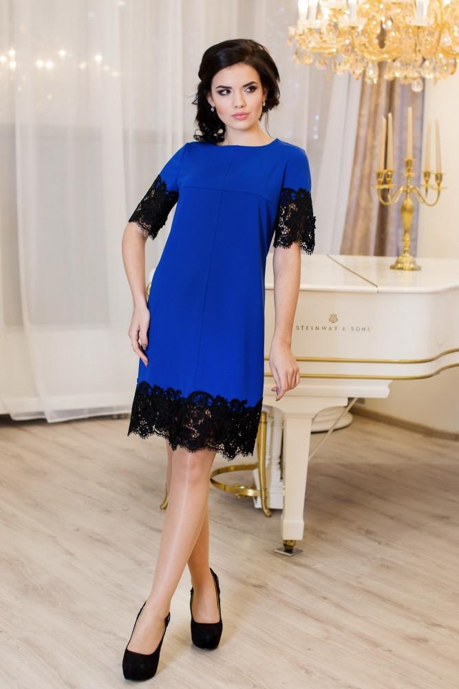 Женское нарядное молодежное платье Эмоция цвет электрик / размер 42-50