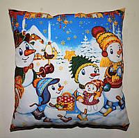 Подушка новогодний принт Снеговик белая голубая