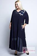 Платье расклешенное вискоза, аппликация цветы (Турция) 56-66рр