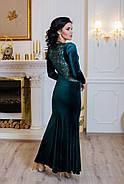 Женское нарядное платье макси Пэрис / размер 42-50 / цвет бутилочный, фото 2
