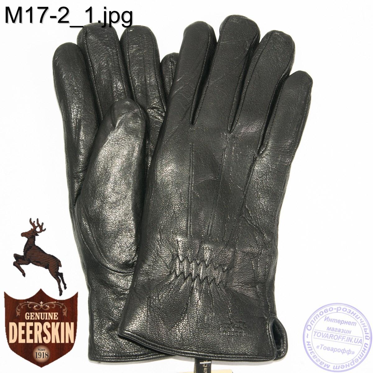 Мужские зимние перчатки из оленьей кожи на цигейке (натуральный черный мех) - №M17-2