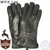 Мужские зимние перчатки из оленьей кожи на цигейке (натуральный черный мех) - №M17-2, фото 1