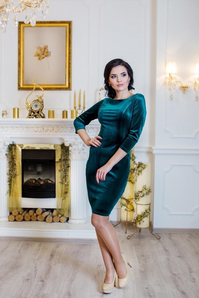 Женское стильное платье Манго / размер 42-50 / цвет изумруд