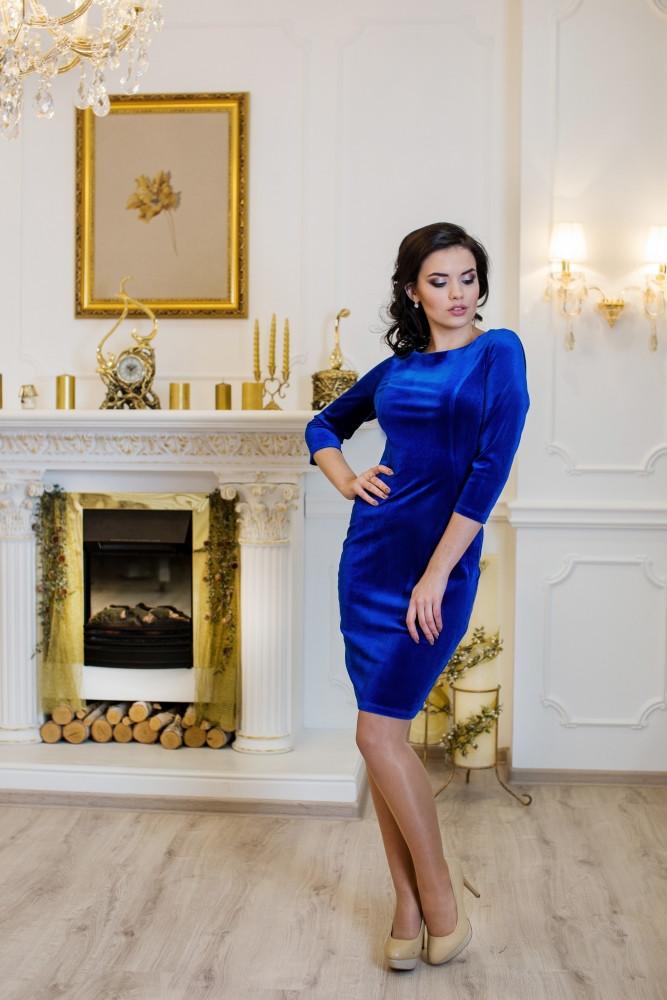 Женское стильное платье Манго / размер 42-50 / цвет электрик