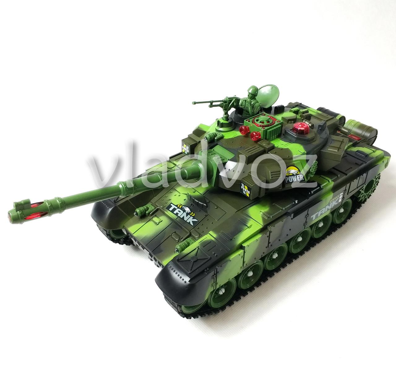 Боевой детский танк большой на радиоуправлении пульте зелёный War Tank