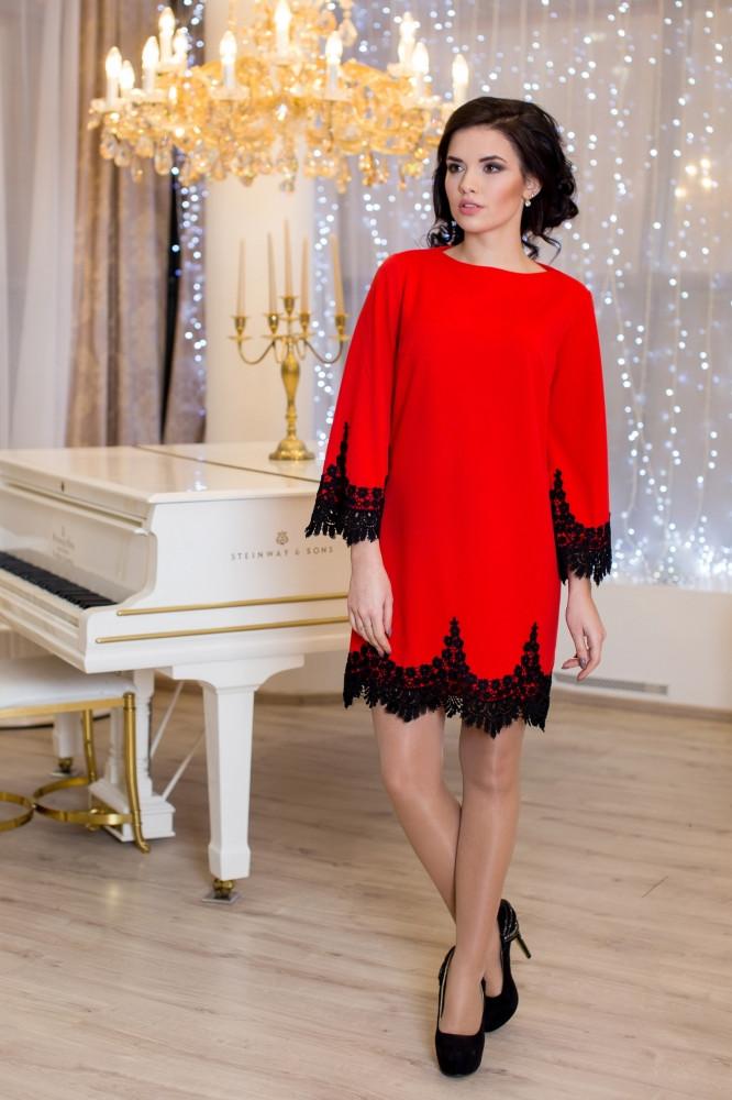 Женское нарядное платье Рубина / размер 42-50 / цвет красный
