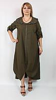Женское турецкое платье расшитое жемчужинами, POMPADUR (Турция) 52-64рр оливка