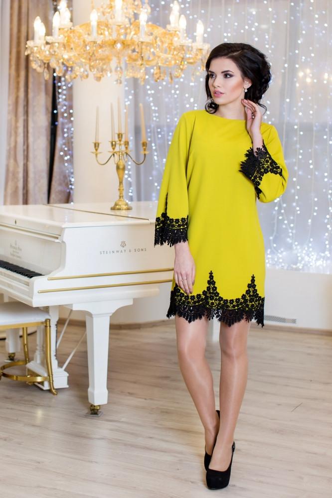Женское нарядное платье Рубина / размер 42-50 / цвет горчица