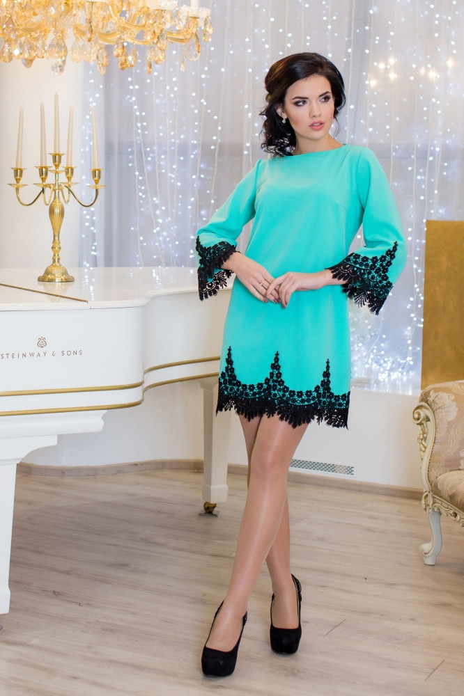 Женское нарядное платье Рубина / размер 42-50 / цвет бирюза