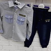 Костюм рубашка на байке и джинсы для мальчика  1-5 лет
