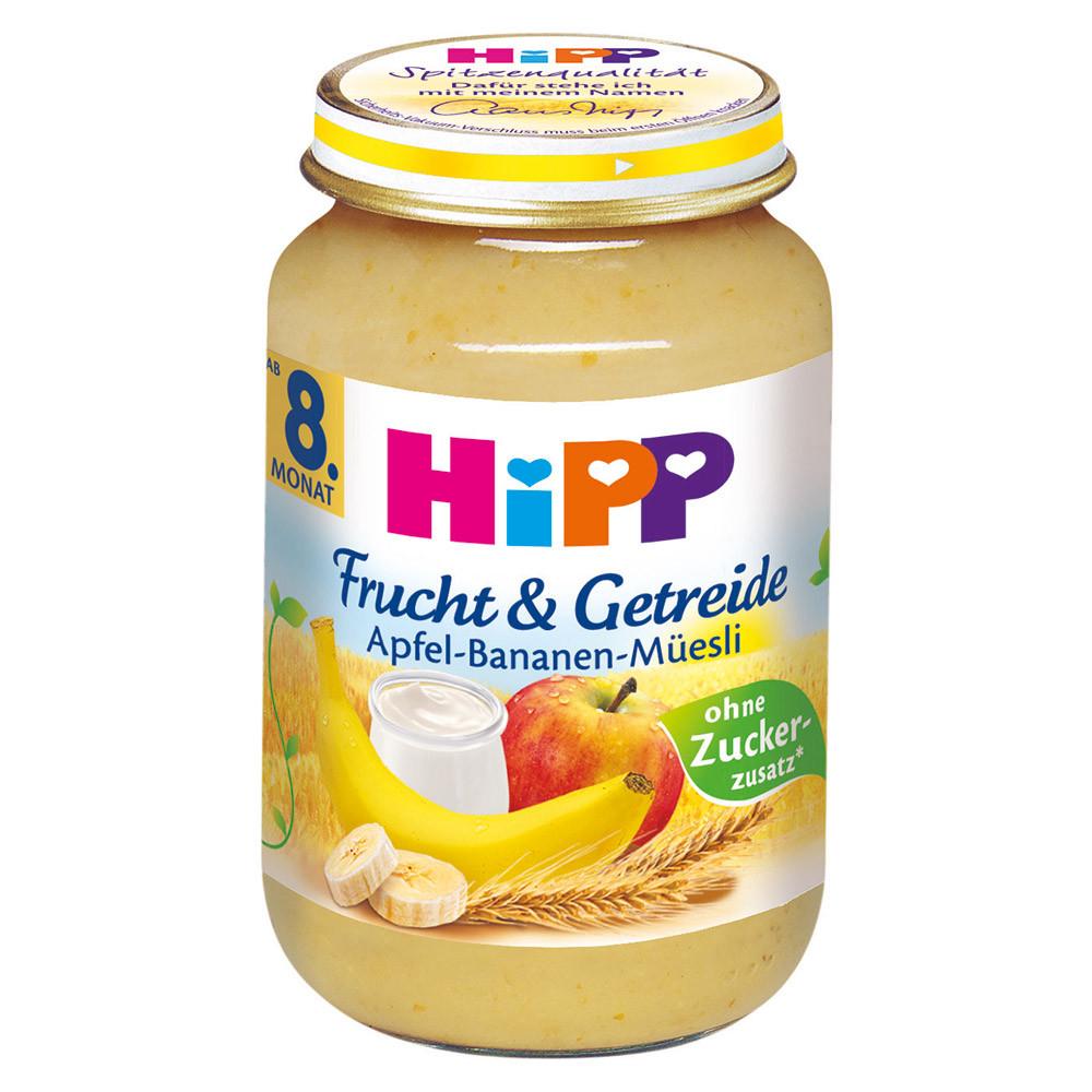 HiPP Фрукты и Зерновые: яблоко-банан-мюсли 190 г, с 8-го мес.