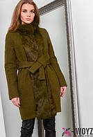 Зимнее пальто с мехом кролика