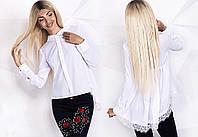 """Асимметричная женская блуза """"Фрак"""" с кружевом и длинным рукавом (2 цвета)"""