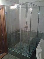 Угловые душевые кабины стеклянные прозрачное стекло