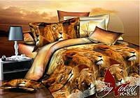Постельное белье двуспальный евро TAG ренфорс Лев и львица