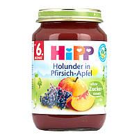 HiPP Пюре фруктовое: бузина-персик-яблоко 190 г,  с 6-го мес.
