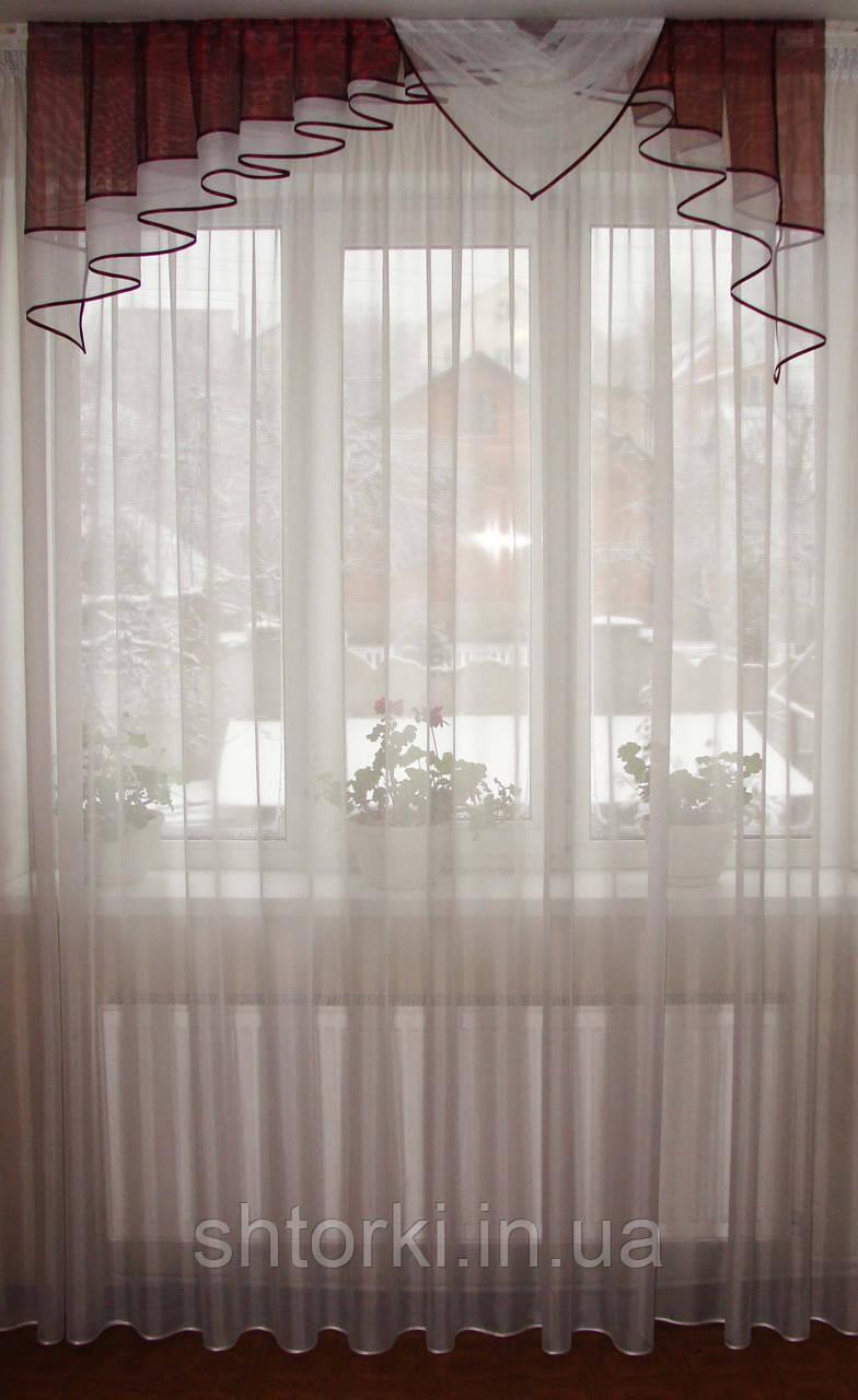Ламбрекен  1,5м  Дуга бордовый с белым