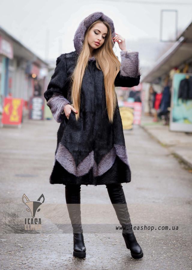 Черная женская шуба с узором, ФОТО