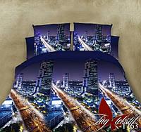 Постельное белье двуспальный евро TAG ренфорс ночной город и дорога