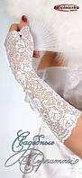 Перчатки белые гипюровые с биссером KS16-1