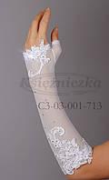 Перчатки белая сетка со стразами KS15-2
