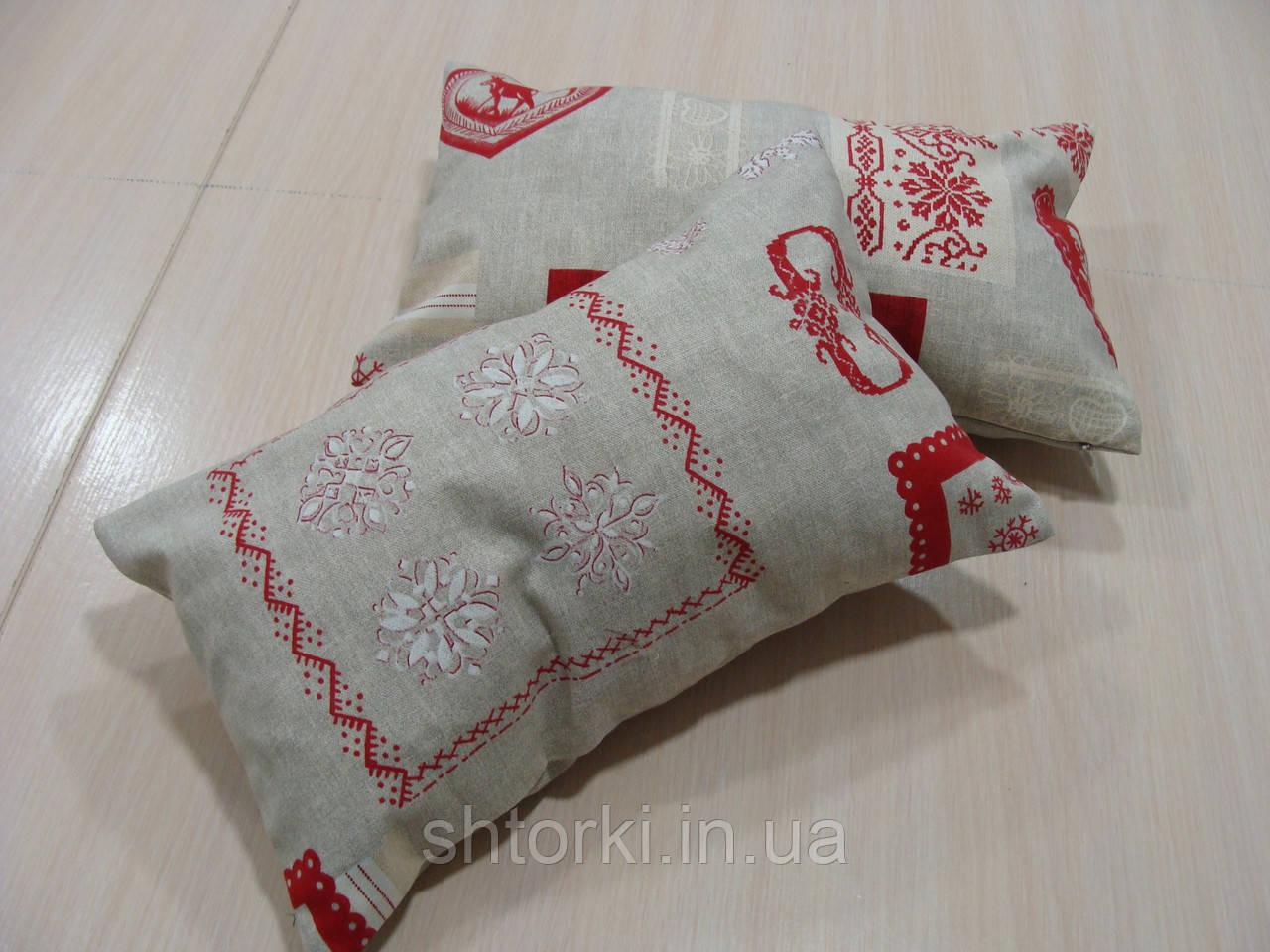 Комплект подушек  2шт Орнамент серые с красным