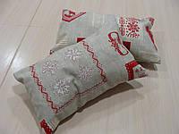 Комплект подушек  2шт Орнамент серые с красным, фото 1