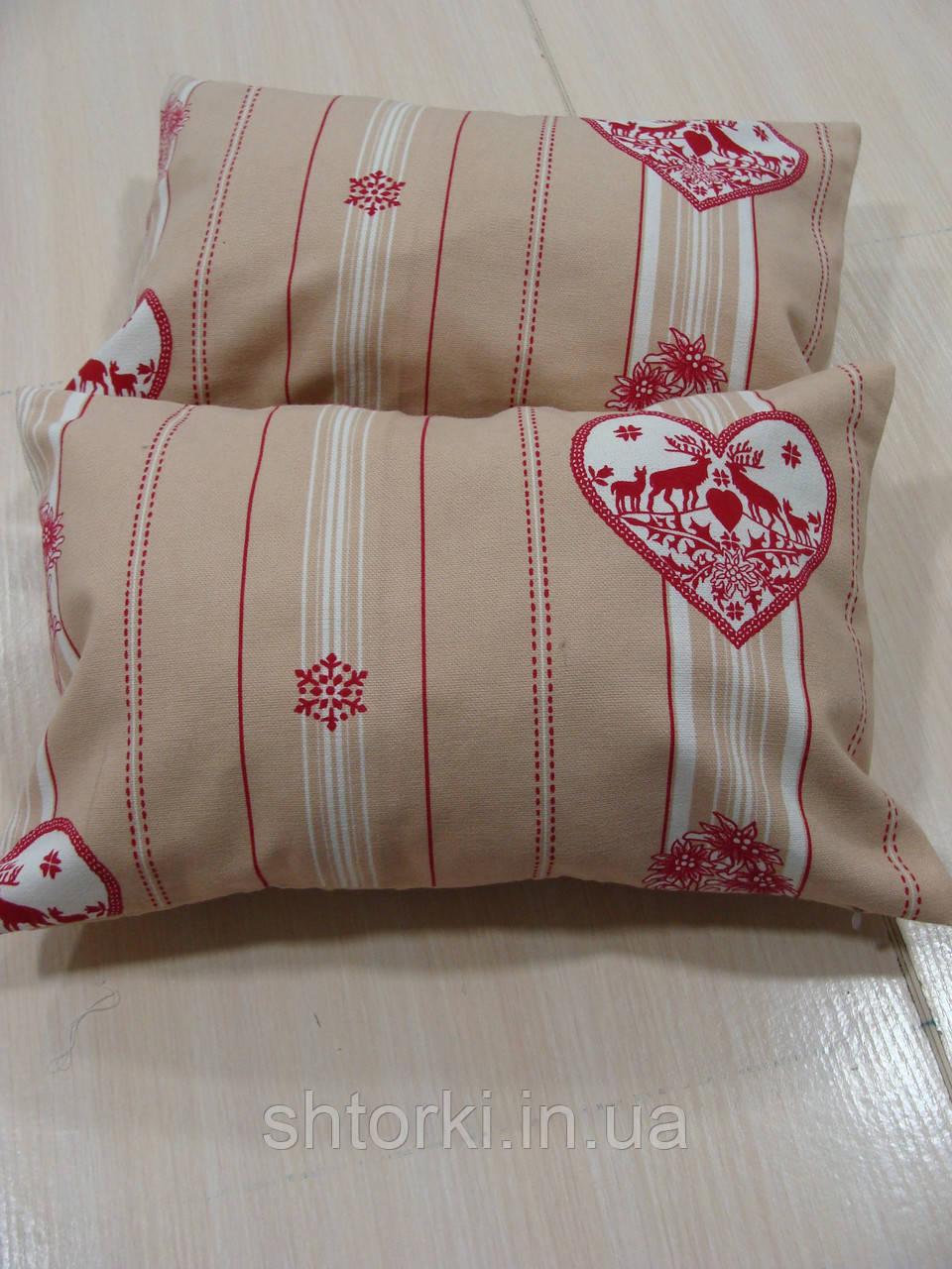 Комплект подушек  2шт Орнамент беж с красным