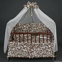 """Комплект детского постельного белья для новорожденного """" Ажур"""" коричневый 8 в 1"""