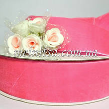 Лента бархатная 4 см, цвет розовый