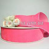 Лента бархатная 4 см, цвет розовый, фото 2