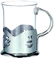 Подстаканник с стеклянным стаканом V=200мл(шт)  ЕМ9569