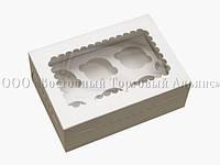 Упаковка для 6 кексів і мафінів - Біла - 255х180х90 мм