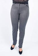 Зауженные женские брюки Руся декорированы велюром на карманах, серого цвета, фото 1