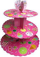 Стенд трёхъярусный картонный круглый для капкейков малинового цвета (шт)